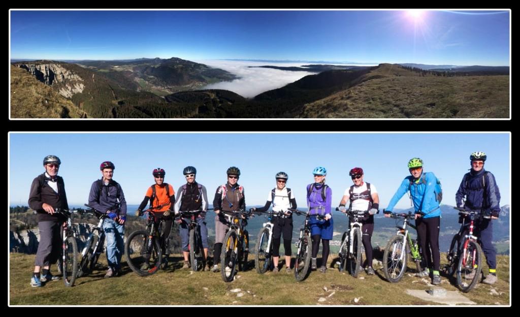 Toute l'équipe au sommet du Mont d'Or: Serge, Marc, Thierry, Fred, Luc, Valéryne, Claudia, Samuel, Gabor et Nicolas